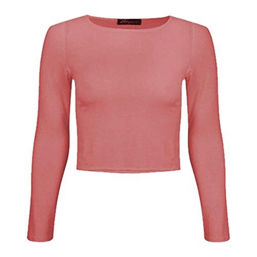 Canotta Da 8 Maniche 14 A Rotondo Semplice Donna shirt Coral Collo Lunghe Nuovo Crop T Corto Donna WSqwHxR0O