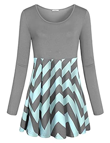Peplum Tops for Women,Cestyle Juniors Daily Wear Long Sleeve Scoop Neck Multicolored Stripe Shirts Elegant Color Block Chevron Print Tunic Dress Pullover for Work Grey - Maternity Print Tunic