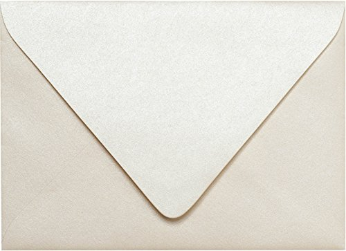 Envelopes Outer - Outer A-7.5 Champagne Cream Metallic Euro Flap Envelopes (5 1/2