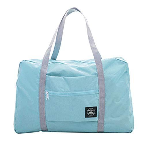 Grey990 Foldable Large Duffel Bag Travel Luggage Storage Bag Waterproof Pouch Tote Bag Handbag Purse Light Blue