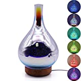 KOBWA 3D Glass Aromatherapy Essential Oil Diffuser, Cool Mist Humidifier with Changing Starburst LED Lights, Wood Base, Waterless Auto-Off, for Home Office Baby Room Spa