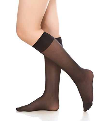 Nylon Socks Sheer Knee High - Women's 6 Pack Silky Sheer Knee High trouser socks reinforced toe(black)