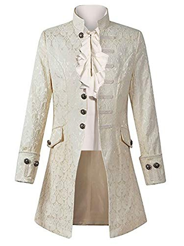 Pxmoda Mens Gothic Tailcoat Jacket Steampunk Victorian Tuxedo Uniform Halloween Costume Coat (L,White)