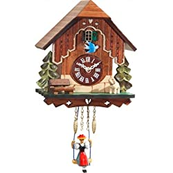 Alexander Taron 0186SQ Engstler Battery-Operated Clock - Mini Size with Music/Chimes - 7 H x 6 W x 4 D, Brown