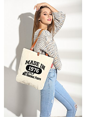 So'each Women's Made In 1976 Graphic Top Handle Canvas Tote Shoulder Bag