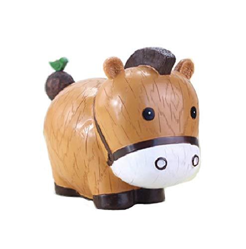zoele Cute Cartoon Horse Resin Piggy Bank Coin Bank Safe Money Box Saving Bank Storage Box Best Christmas Birthday Gifts for Kids Boys Girls Home Decoration (B)