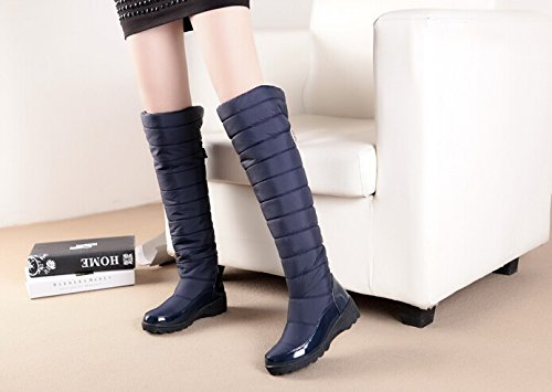 Bleu Les Garder Femmes Mode La Neige D'hiver De Bottes Arrivée Chaussures forme Cuissardes Plate Nouvelle Chauds 2015 Pour 6nUfTwqgT