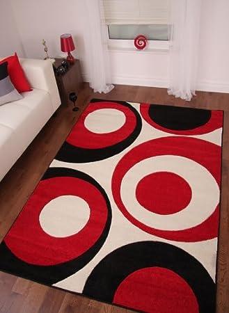 alfombras modernas labradas con crculos en rojo negro y crema 160cm x 230cm - Alfombras Modernas