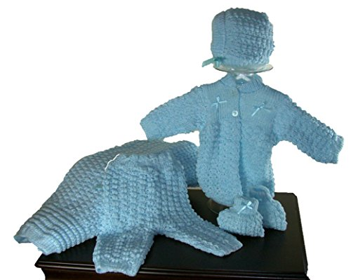 5 Pcs Knit Crochet Unisex Baby Set Blanket, Pants, Sweater, Bonnet, Booties, Size 0-3 Mo (Blue) -