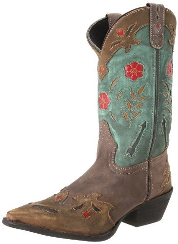 Laredo Women's Miss Kate Western Boot,Brown/Teal,7 M US (Turquoise Boots Brown Cowgirl And)