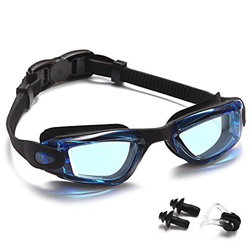 Premium Kids Swim Goggles,Best Swimming Goggle for kids Boys Girls Child Youth,Triathlon Glasses with Waterproof,Anti-Fog,UV Protection Lenses and Soft Silicone Frame Free Ear Plugs,Nose Clips