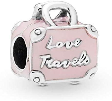 DH Love Spinning Globe Dangle Charm Earth Propeller Plane Travel Charm for Bracelets