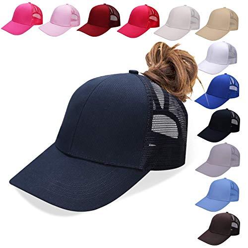 NeuFashion Ponycap Messy High Bun Ponytail Adjustable Mesh Trucker Baseball Cap Hat, Navy, One Size -
