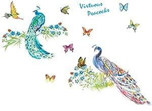 ملصقات حائط ديكور، ملصق جداري فني للغرفة. طاووس قابل للإزالة