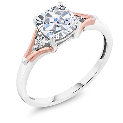 1.49 Ct Cushion White Created Moissanite and Diamond 10K Two Tone Gold Ring