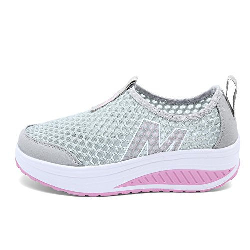 Shape Women Up EnllerviiD 3308 Fitness 1 Fashion Platform Weight Light Slip On Shoes Sneakers Grey Athletic q4dqtBw