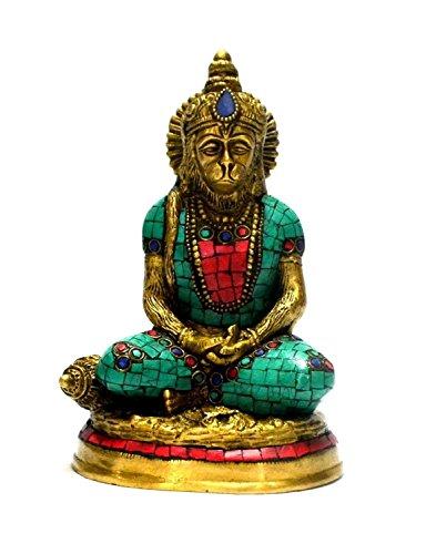 CraftVatika Hanuman Idol Hindu God Monkey Brass Sculpture Turquoise Bajarang Bali Statue Diwali Decor Gifts