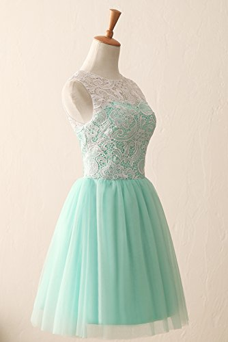 Tanzabend KekeHouse® Linie Abendkleid Tüll Rosa Brautjungfernkleid Kurz ärmellos A Ballkleid Spitze rraU8q