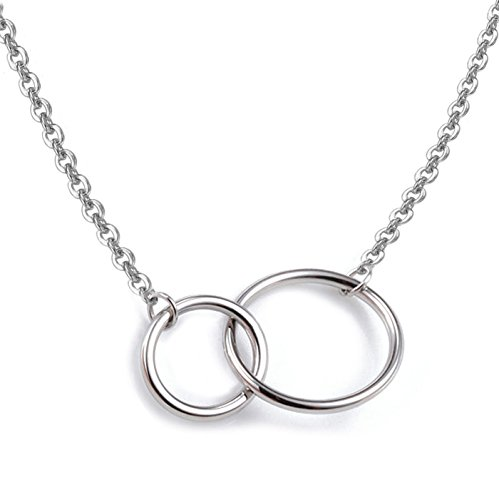 925 Sterling Silver Necklace with Interlocking Two-Circles Pendant Necklace, 16