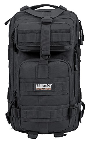 Seibertron Falcon Water Repellent Hiking Camping Backpack Compact Pack Summit Bag (Black 27L)