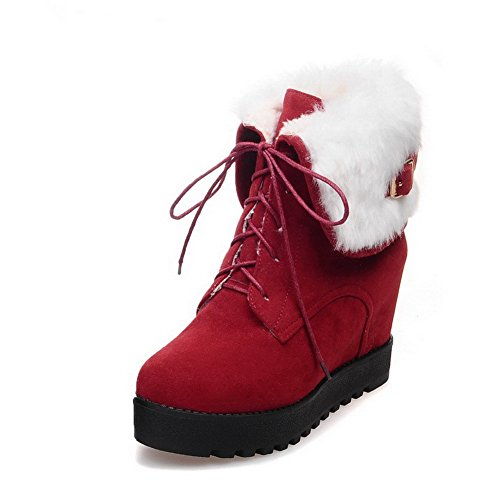 AgooLar Women's Lace up Kitten Heels Imitated Suede Solid Low Top Boots Red JD0RtACHn