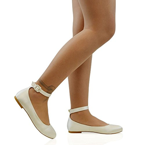 (ESSEX GLAM Women's Ivory Satin Ankle Strap Bridal Ballerina Pumps 10 B(M) US )