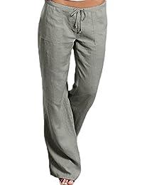 Women Casual Loose High Waist Plus Size Linen Pants Trousers