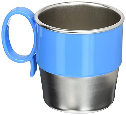 Innobaby Din Din Smart Stainless Steel Cup (9 oz) with Handle for Babies, Toddlers and Kids. BPA free, Blue