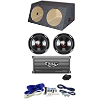 2) Boss P106DVC 10 4200W Car Subs + Dual Angle Sub Box+1600W 2-Ch Amp + Amp Kit
