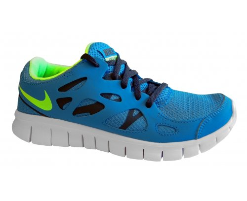 Nike Free Run 2.0 Gs Niños (434) Blue/lime, 39 UE