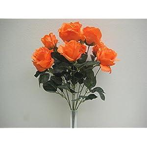 "Phoenix Silk Orange Open Roses Artificial Flower Bush 20"" Bouquet 9-6063OR 83"
