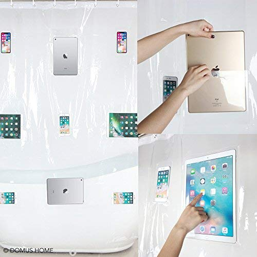 Domus Home iPad Mount Clear Liner-12 Touch-sensative Waterproof Shower Curtain with Phone Pockets-EVA Material 72x72 with 12 Hooks, 180CMX180CM,