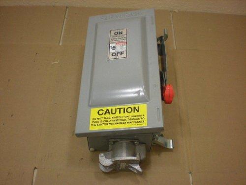 1- HNF361JPN SIEMENS 30 AMP, 3POLE, NON-FUSIBLE SAFETY DISCONNECT SWITCH HEAVY DUTY, 600VAC, NEMA 3R, 3S, 12, 13250VDC W/ PYLE-NATIONAL 30A 3P 4 WIRE RECEPTACLE HNF361 JPN by Siemens