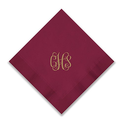 Custom Foil Napkins - Beverage - with Monogram - 3279M by American Stationery (Image #8)