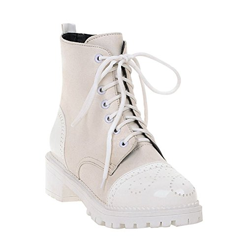 Carolbar Womens Lace-Up Comfort Fashion Casual Mid Heel Short Boots White
