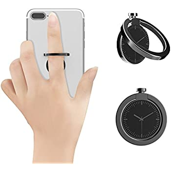 Ring Stand For Cell Phone, KOOSEN Zinc Alloy Ring Grip kickstand For Iphone 7 7 Plus 6S 6 5 5S,Samsung Galaxy Tablet Ect Fit For Magnetic Car Mount,360°rotetion Finger Ring Holder For Phone (Black)