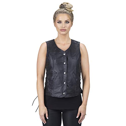 (Viking Cycle Rowdy Leather Motorcycle Vest for Women (Small))