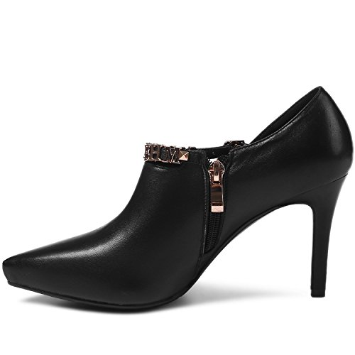 Letters Stiletto Leather Pumps High Heel Ankle Strap Black Sexy Booties Toe Buckle Pointed Women's VIMISAOI q7xZCwEx