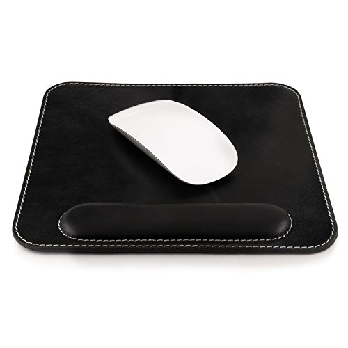 (Londo Genuine Leather Mousepad with Wrist Rest, Black)