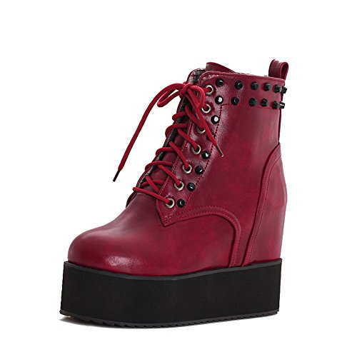 Leather Up Boots Imitated Heighten Ladies Red Platform Rivet BalaMasa Lace Inside Rz8xY6