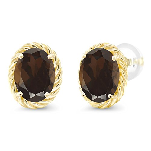 2.40 Ct Oval 8x6mm Brown Smoky Quartz 14K Yellow Gold Twist Stud Earrings ()