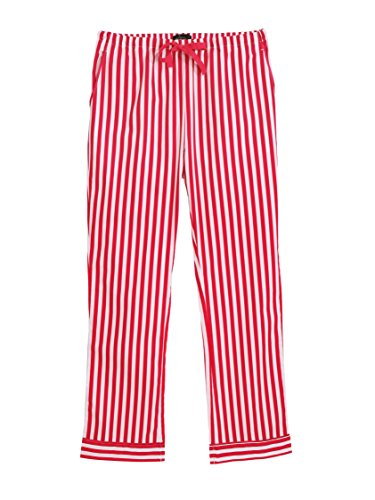Red And White Striped Pants - Women's 100% Cotton Poplin Lounge Pants - Stripes Red White - Medium