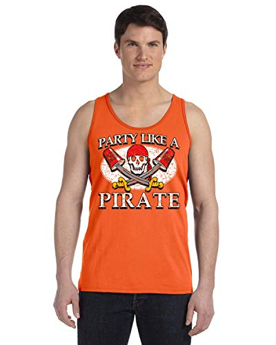 Promotion & Beyond Party Like A Pirate Funny Halloween Costume Men's Tank Top, XL, Orange