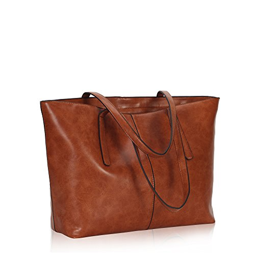 Leather Top Zip Large Tote (Hynes Victory Women Large Satchel Handbags Shoulder Tote Bag with Pouch Brown)