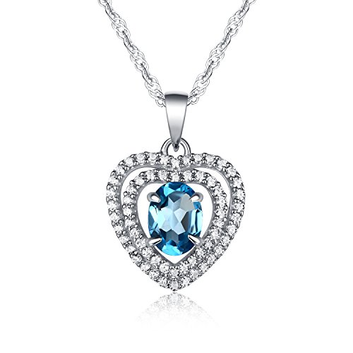 Gifts for Love Natural Swiss-blue Topaz Gemstone Oval Shape Heart Style with 925 Sterling Silver Pendant Necklace,18