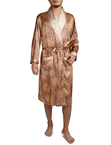 Binken Men's Satin Robe Printed Bath Sleepwear Long Classic Charmeuse Robe (2XL, Glam (Silk Charmeuse Pants)