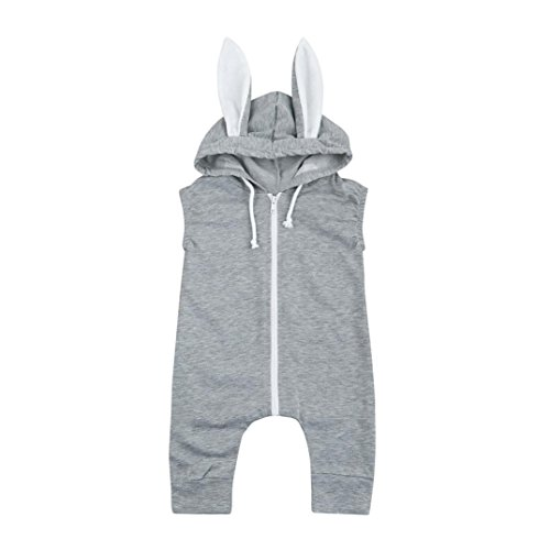 Kehen Infant Baby Rabbit Shape Sleeveless Romper Bunny Ears Hooded Zipper Jumpsuit Outfit Clothes (0/6M, Gray Rabbit) -