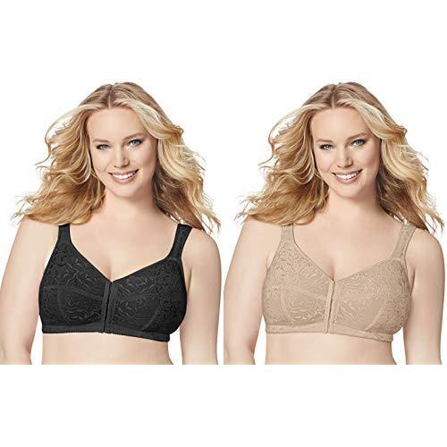 Just My Size Women's Front Close Soft Cup Plus Size Bra (1107), Black, 44D with Women's Front Close Soft Cup Plus Size Bra (1107), Nude, 44D