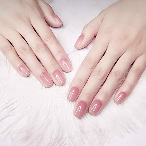Ideal Swan 24Pcs Acrylic False Nail Tips Short Fakes Gel Nails Kit Light Pink Full Cover Glue Nails Art Set for Women -
