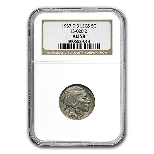 1937 D 3 Legged Buffalo Nickel AU-58 NGC Nickel AU-58 - Au Buy Online